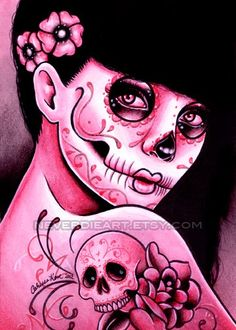 Day of the Dead sugar skull print by artist Carissa Rose Stevens (misscarissarose, deviantART; NeverDieArt, Etsy; Carissa Rose Art, Facebook)...stunning!!!