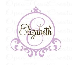 Initial and Name Vinyl Wall Decal with Frame Border - Baby Nursery Monogram Vinyl Lettering Decal Sticker 22H x 22W FN0207. $39.00, via Etsy.