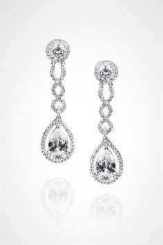 Earrings by Dessy_$30_DECO-LICIOUS Pear shaped CZ drop earrings_Colin Cowie Weddings.com