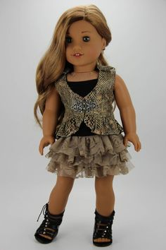 Handmade 18 inch doll clothes - Black and tan 3 piece vest outfit (613) by DolliciousClothes on Etsy
