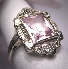 Antique Morganite Ring Vintage Art Deco Wedding Emerald