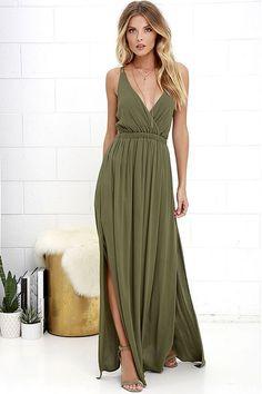 c6de684007 Lost in Paradise Olive Green Maxi Dress at Lulus.com! Vestido Macacão