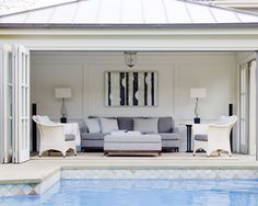 Love flow from living to pool.would have pool further away from living area as kids will splash a lot of water. Nice Bifold doors too which are in keeping with rest of house Design Patio, Home Design, Interior Design, Design Interiors, Design Design, Living Pool, Pool House Designs, Pool Cabana, Backyard Cabana