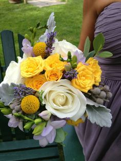 Wedding flowers by floralartvt.com Yellow, lavender, white and gray bouquet.