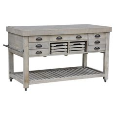 """Avery Kitchen Island from Joss & Main. Recycled south pine kitchen island with drawers, a towel rack, and a slatted bottom. Natural gray finish. 36""""H x 60""""W x 30""""D. $1379.95"""