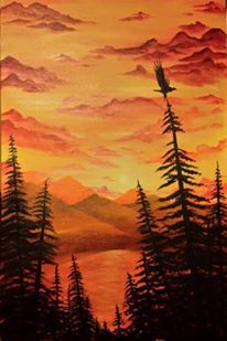 Brandon Lazore - USDA Poster Winner for 2014 -- looks like Haudenosaunee original lands with the Golden Eagle alighting the Tree of Great Peace Golden Eagle, Native American Art, Peace, Mountains, Sunset, The Originals, Poster, Travel, Outdoor