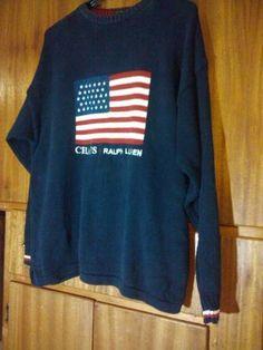 Flag Sweater Mens SZ L 100% Cotton Hand Framed Patriotic CHAPS Ralph Lauren LS