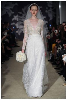 vestido de noiva com top transparente de Carolina Herrera primavera 2015 #casarcomgosto