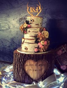 Country Wedding Cake Country Wedding Cake 3-tier wedding cake created for a rustic/country-themed wedding. All fondant with hand-painted accents. #valentine #valentines-day #heart #cakecentral