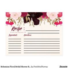 Bridal Shower Recipe Cards with a Bohemian Floral Design - These recipe cards are a really cute way to give a bride-to-be all of her friends recipes. Just have all of the guests at the wedding shower fill the card out with their favorite recipes and give the cards to the bride so she can start her life as a wife off with plenty of delicious recipe options. The backing is really cute too!