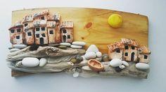 Панно домики у моря#домики из полимерной глины#любимое занятие)