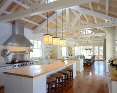 Love this kitchen - colors, ceiling, range / hood, butcher block counters, islan. Kitchen Colors, Kitchen Design, Scissor Truss, Exposed Trusses, Roof Trusses, Wood Plank Ceiling, Kitchen With Vaulted Ceiling, Open Ceiling, Roof Truss Design