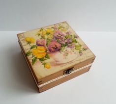 Wooden tea box box with four compartments. Stained, decorated with decoupage technique, finished with glossy varnish. Beautiful lid decoration with pansies. Lovely cotton lace. Fantastic gift idea.