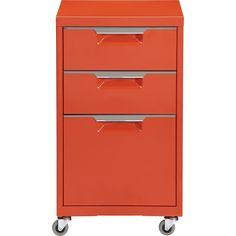 TPS bright orange file cabinet - CB2 - $159.00 - domino.com