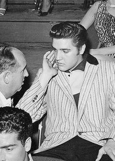 Elvis and Colonel Tom Parker during a break in the rehearsals for The Milton Berle Show, Los Angeles, June 5, 1956.