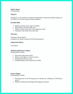 Sample Resume  Resume Template Tow Truck Driver