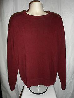 Saddlebred Mens Sweater Size XL Red Burgundy Cotton Crewneck Pullover