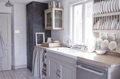 Twig Hutchinson kitchen, larder box as cabinet, chalkboard paint, via Remodelista