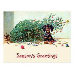 Funny Vintage Christmas Tree with a Dachshund Postcard