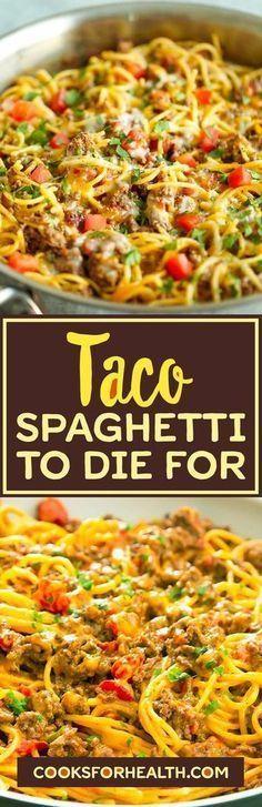 Taco Spaghetti To Die For flatas recipe; - Taco Spaghetti To Die For flatas recipe; Pasta Recipes, Beef Recipes, Mexican Food Recipes, Dinner Recipes, Cooking Recipes, Healthy Recipes, Recipies, Healthy Snacks, Spaghetti Recipes