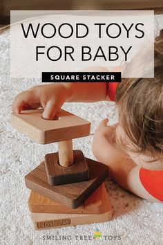 Square Stacker is one of the best baby toys! This educational wooden toy teaches babies to grasp while working on motor and spatial awareness, all while having fun too. #woodtoys #babygifts Wooden Baby Toys, Wood Toys, Best Baby Toys, Stacking Toys, Childrens Gifts, Educational Toys, Gifts For Kids, Baby Gifts, Babies