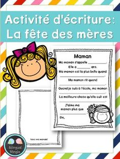 {FREEBIE: Activité d'écriture: la fête des mères} This FREEBIE French writing activity is lots of fun to do with kids of all ages, and can be used as part of a craft for gift. Father's Day Activities, Motor Skills Activities, Writing Activities, French Teaching Resources, Teaching French, Mothers Day Crafts For Kids, Fathers Day Crafts, French Classroom Decor, Core French