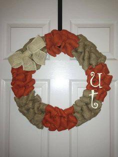 Texas Longhorn Burlap wreath by MoniquesWreaths on Etsy, $50.00