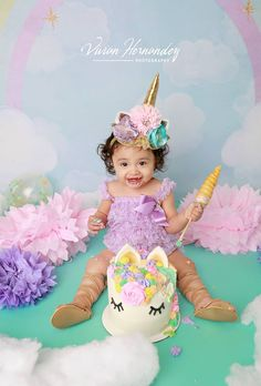 Olivia's unicorn themed cake smash session