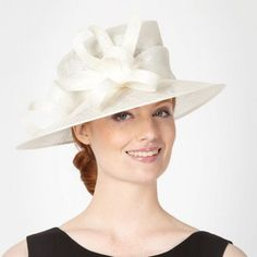 Cream abstract curl trim occasion hat