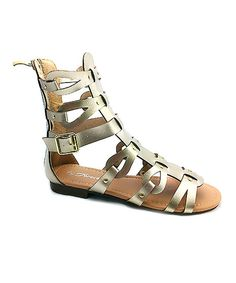 Look at this Step Up Shoes Gold Atta Gladiator Sandal on #zulily today!