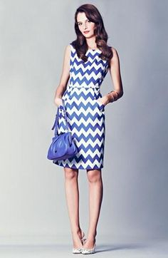 Chevron! kate spade new york blue sheath dress