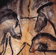 These cave paintings amaze me: Horse heads, Chauvet Cave. Fourteen different animal species are depicted in the Chauvet Cave. Here, three beautiful horses' heads face one another. Someday I want to see cave paintings in person. Chauvet Cave, Lascaux, Ancient History, Art History, History Museum, Paleolithic Art, Cave Drawings, Horse Drawings, Art Ancien