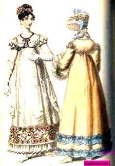1815  Evening and Walking Dresses, English. White evening dress with frill and flowers on hem, short puffed sleeves, long gloves, and an upswept evening hairstyle. Apricot and blue walking dress, or Pelisse, or Redingote, with a bonnet to match.    Fashion Plate via Lady's Monthly. suzilove.com