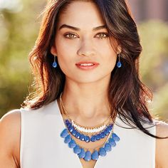 JUST $7.99. Gorgeous Blue Glimmer Drops Necklace & Earring Gift Set. Necklace gives off the layered look & adds drama to any outfit.  (Reg. price $29.99).