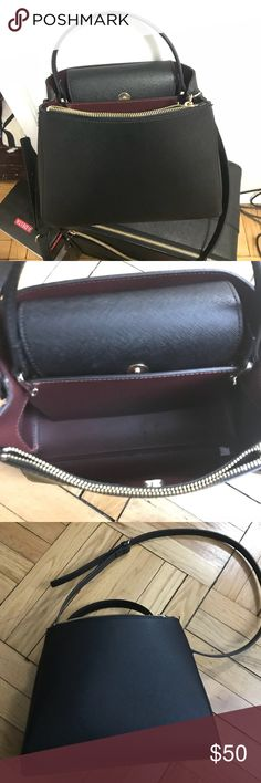 """ZARA Vegan Leather Handbag Black Saffiano Timeless Zara Vegan Saffiano leather handbag with chic red interior and gold accents. Perfect for an everyday bag. Make me an offer!! I have a 5 star rating and as long as you purchase before 12 PM EST, I ship the same day. Measurements: 8.5 x 11.5 x 6"""" Zara Bags Satchels"""