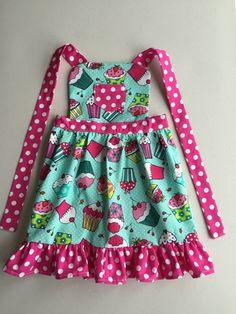 Cherry on Top Cupcake Apron, Kids Apron, Toddler Apron, Child Apron, Girls apron, girl birthday gift