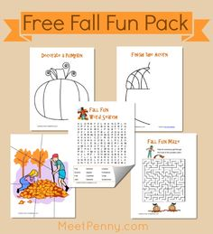 Free Fall Fun Printables - word search, coloring pages, and more
