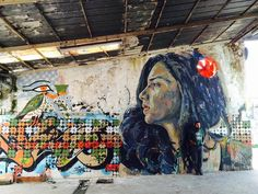 The incredibly talented Egyptian graffiti artist Ammar Abo Bakr draws Sanaa Seif at a former factory in Rome. #Egypt
