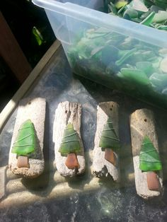 Seaglass and driftwood ornaments. I don't think I have brown seaglass but maybe I can get some.