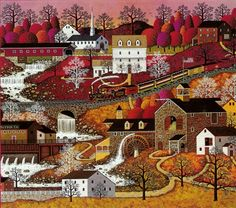 Waterfall Valley ~ by Charles Wysocki 1974 AMCAL© (American Celebration p.123)