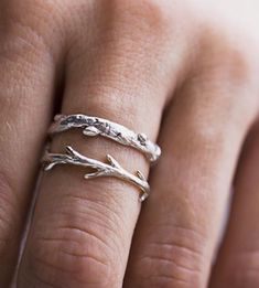THE DETAILS For those taken by trees, these sterling silver arbor-inspired rings come together in a carefully arranged set, to add to or begin your ring stacking collection. Both oak tree shapes is carved into a wax mold and cast in sterling silver, capturing all the small details and textures of rough tree bark, knobby knots and grooves in the wood.