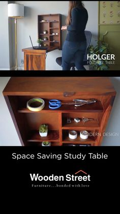 Holger study table is a smart-piece that enables you to work comfortably. The convertible fold-out feature when unfolded, provides storage space to house all your essentials with ease. It is finely crafted from premium-quality Sheesham wood. Folding Study Table, Wall Mounted Folding Table, Study Table And Chair, Study Tables, Bedroom Table, Bedroom Ideas, Space Saving Storage, Storage Spaces, Sofa Bed For Small Spaces
