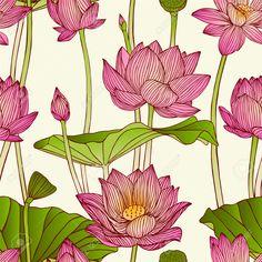 Illustration of Vector seamless pattern - lotus flowers vector art, clipart and stock vectors. Lotus Artwork, Lotus Painting, Lotus Drawing, Kerala Mural Painting, Madhubani Painting, Pichwai Paintings, Indian Art Paintings, Lotus Kunst, Lotus Flower Art