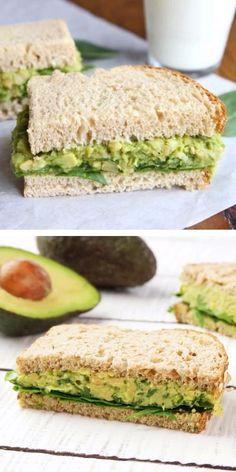 Vegetarian Sandwich Recipes, Vegetarian Lunch, Avocado Recipes, Vegetarian Cooking, Easy Healthy Recipes, Raw Food Recipes, Healthy Snacks, Avocado Toast, Avocado Salad