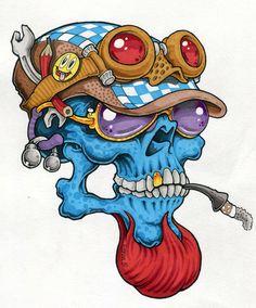 Vizman Cartoon Drawing Tutorial, Cartoon Girl Drawing, Cartoon Art, Rob Zombie Art, Pinstripe Art, Tattoo Themes, Cartoon Drawings Of Animals, Graffiti Murals, Garage Art