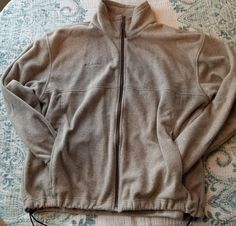MENS Columbia Fleece Tan Jacket Full Zip XL Coat w/ Zip Pockets Camp Hike Warm #Columbia #BasicJacket