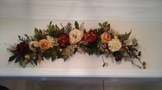 Floral Wall Swag, Tuscan Silk Floral Arrangement, Wall Centerpiece, Archway, Mirror, Picture Window Wreath, Elegant Home Décor by GiftsByWhatABeautifu on Etsy