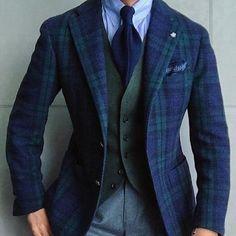 Men's Navy and Green Plaid Blazer, Olive Wool Waistcoat, Light Blue Vertical Striped Dress Shirt, Grey Wool Dress Pants Outfits Casual, Style Outfits, Mode Outfits, Fashion Outfits, Men's Fashion, Fashion Styles, Sharp Dressed Man, Well Dressed Men, Style Gentleman