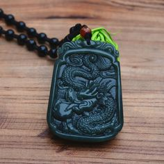 (Free Certificate) Natural Green Hetian Jade Pendant Dancing Dargon Zodiac Dragon Pendant Necklace Men's Jade Jewelry Free Rope