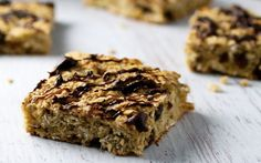 <p>These chewy oat bars are sweetened naturally with banana and maple syrup, with a touch of cinnamon and almond extract for flavor, and a handful of raisins.</p>